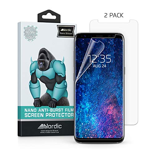[2-Pack] Nordic Nano Film (Case Friendly) Screen Protector for Galaxy S9 Plus & S8 Plus (Updated Version 2) HD Clear Anti-Bubble Film Easy Install