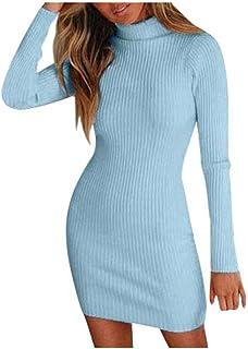 ESAILQ Donna Vestito Collo Alto a Maglieria per Inverno Maglione Lungo Elegante Abito Accollato Invernale