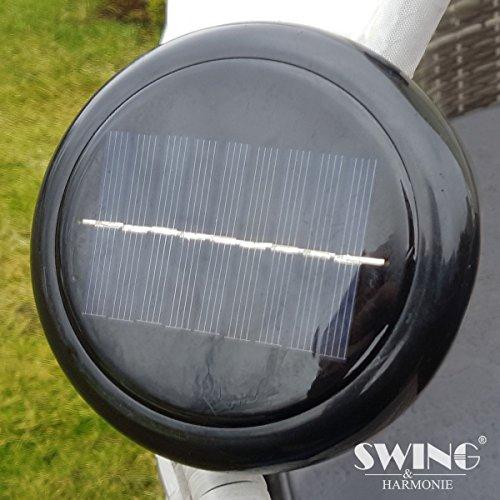 Polyrattan Sonneninsel mit LED Beleuchtung + Solarmodul inklusive Abdeckcover Rattan Lounge Sunbed Liege Insel mit Regencover Sonnenliege Gartenliege (180cm, Grau) - 3