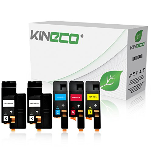 5 Toner kompatibel zu Xerox Phaser 6020BI, 6022, 6027, WorkCentre WC 6025, 6027 - Schwarz je 2.000 Seiten, Color je 1.000 Seiten