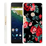 Google Nexus 6P Case Floral,Gifun Slim White Hard Back Case