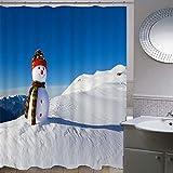 Duschvorhang-Weihnachtsserie 173,Anti-Schimmel Anti-Bakteriell Wasserdichter Badvorhang 3D Wirkung Polyester Duschvorhang Mit 12 Haken,Umweltfre&lich Waschbar Duschvorhang 120X180Cm