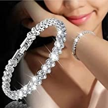 Gemini_mall® Sparkle Silver Bracelet for Women with Cubic Zirconia Crystals, Perfect Gift for Birthdays