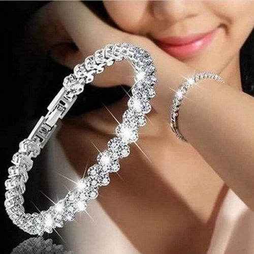 Gemini_mall Sparkle Silver Bracelet for Women with Cubic Zirconia Crystals, Perfect Gift for Birthdays