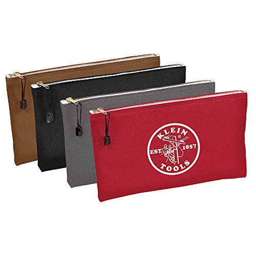 Klein Tools 5141 Zipper Bag, Utility Bag can be used as Bank Deposit Bag, Tool Bag or Pouch, More in Brown, Black, Gray, Red Canvas, 4pc Set