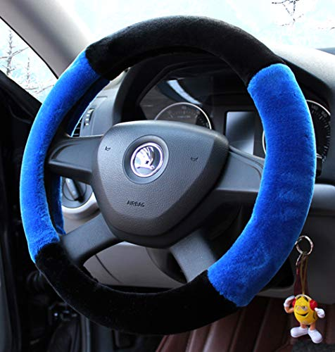 Winter-Plüsch Fell Auto Lenkradbezug niedlich für 95{5b240cadc7612e0f0c08b821ee97d1ca3c48e10a9defdcdc801851977dd3bf62} Auto Styling Blau