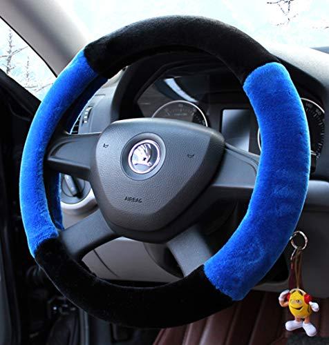 Winter-Plüsch Fell Auto Lenkradbezug niedlich für 95{be9d87441bf2b4021708cf562738f2c3a2bd5b718689ff33119b97578c81b529} Auto Styling Blau
