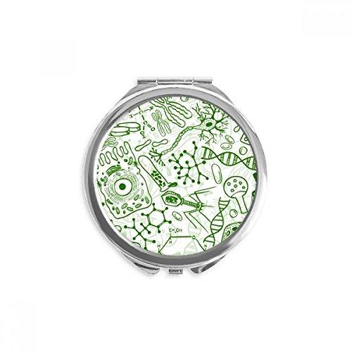 DIYthinker Grüne Mikroskop Zellen Struktur Biological Spiegel Rund bewegliche Handtasche Make-up 2.6 Zoll x 2.4 Zoll x 0.3 Zoll Mehrfarbig