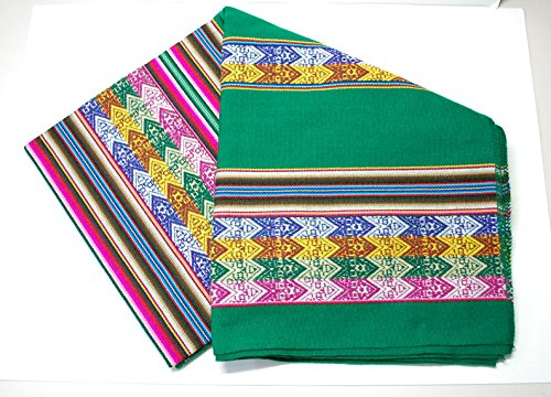 【アワヨ・アワイヨ布のアンデス織物】【緑・グリーン】【中サイズ】南米ペルーのアンデス民族カラフル織物(線模様)のタペストリー布