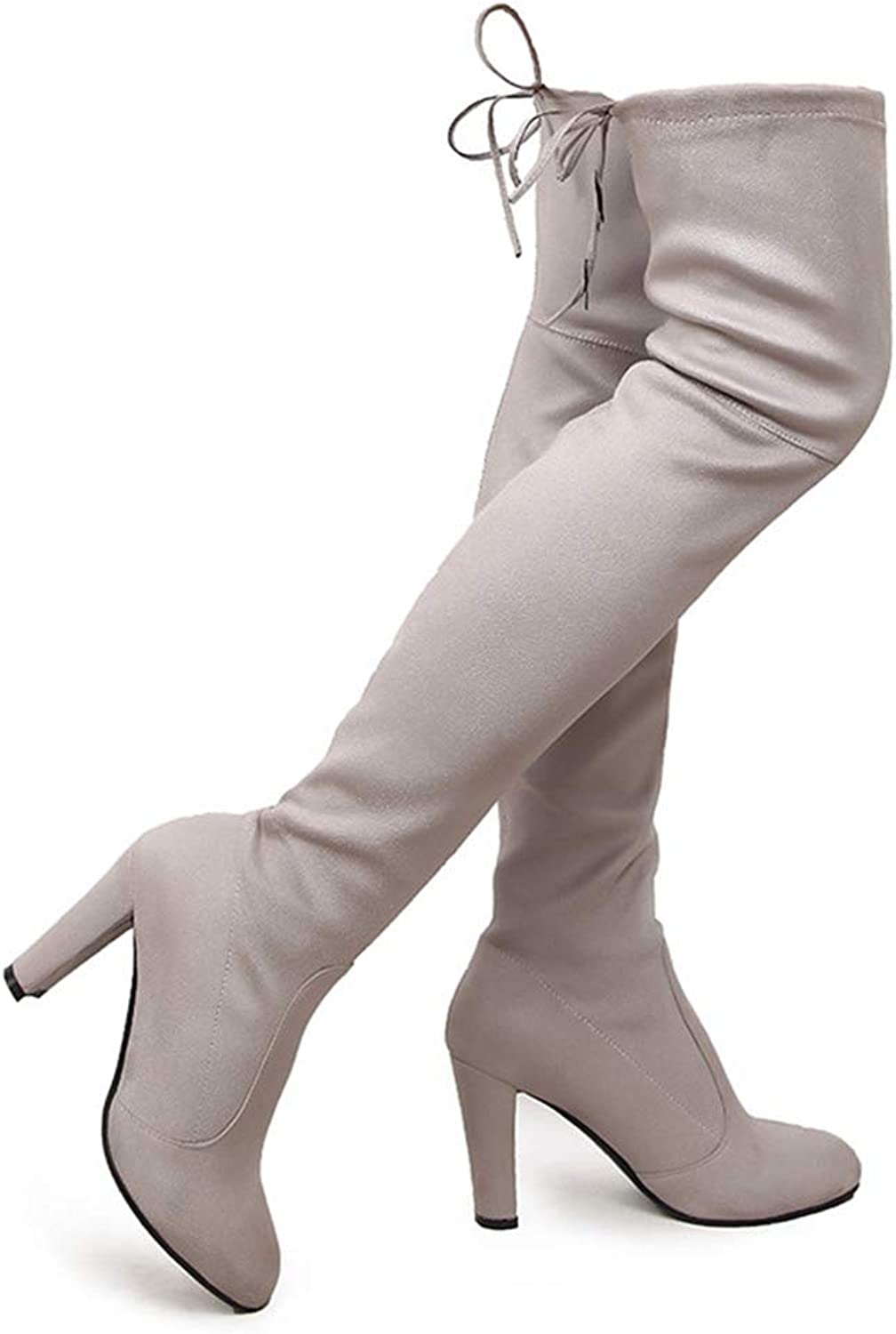 Women Winter Stretch Thigh High Boots Female High Heels Suede Ladies shoes Over The Knee High Tall Riding Boot