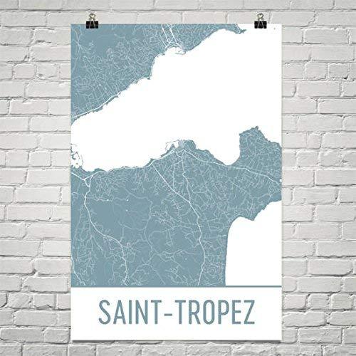 Moderne kaart Art Saint-Tropez Kaart, Saint Tropez Art, Tropez Print, Saint-Tropez Frankrijk Poster, Franse geschenken, Kaart van de Rivièra, Franse Poster