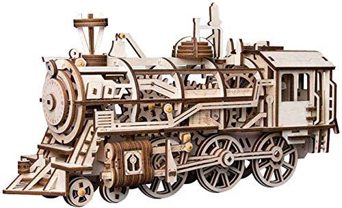 Imagen del producto Robotime Rompecabezas de Madera 3D Cortado con láser - Kits de Modelo autopropulsados - Juego de construcción mecánica - Rompecabezas para niños, Adolescentes y Adultos (Locomotive)