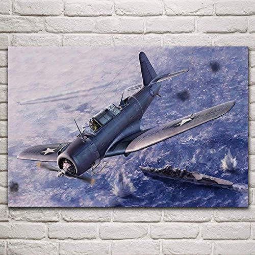 VVSUN USA Bomber Dive Sea Air Battle Decorazione del Soggiorno Decorazione della Parete di casa Art Decor Poster in Tessuto Decorazioni per la casa, 50x75cm (Senza Cornice)