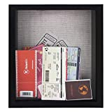 Space Art Deco, Shadow Box Frame - Shadow Box Display Case – Top Loading Wood Frame - Wine/Bottle Caps, Shells, Ticket Stubs Holder,Great for Weddings, Pictures, Mementos (Black, 8x10, 1-Pack)