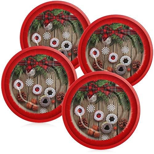 com-four® 4X Weihnachtsteller aus Metall - Nikolausteller mit Weihnachtsmotiv - Adventsteller für Gebäck und Obst (04 Stück - Ø 26cm)
