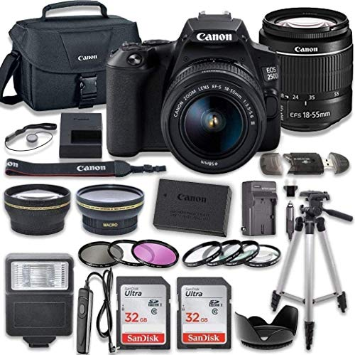 Canon EOS 250D (Rebel SL3) DSLR Camera with 18-55mm III Lens + 2 x 32GB Card + Accessory Kit