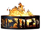 P&D Metal Works Campfire Fire Ring w Moose Cutout Design - Solid Steel (48 in. Dia.)