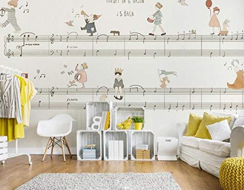 3D vliesbehang fotobehang abstracte originele prinses muziek noot 3D cartoon muurschildering wallpaper muurschildering voor meisjes kinderkamer 250*175 250 x 175 cm.