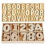 Lot de 216 lettres et chiffres en bois - Lettres majuscules en bois avec plateau de rangement - Lettres de l'alphabet en bois naturel lisses pour loisirs créatifs, bricolage, décoration de mariage
