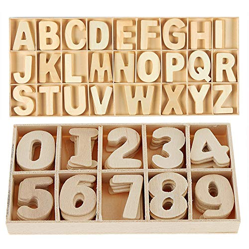 216-Pcs Wooden Letters and Numbers Set- Small Wooden Capital Letters Numbers with Storage Tray - Wooden Alphabet Craft Letters Smooth Natural Wooden Numbers for Arts Crafts DIY Wedding Display Decor