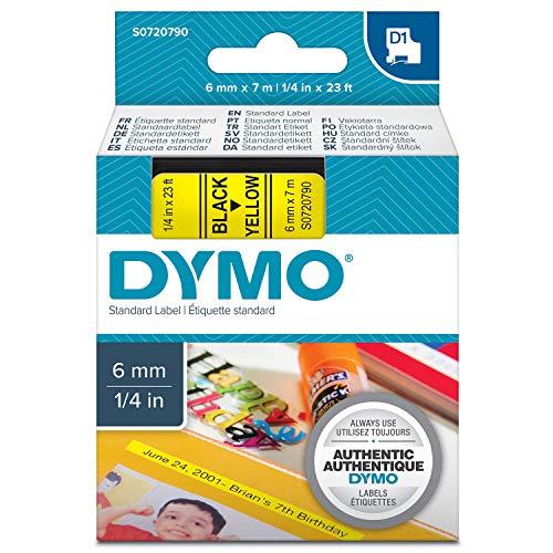 Dymo S0720790 D1-Etiketten (Selbstklebend, für den Drucker LabelManager, 6 mm x 7 m Rolle) schwarz auf gelb