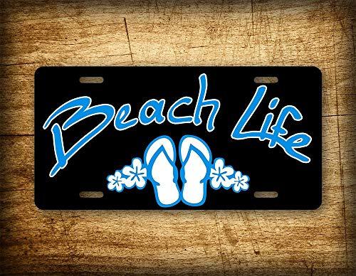 Fhdang Decor BEACH LIFE License Plate Salt Water Palm Trees, Ocean, Sand & Water Flip Flops -UV rated metal will never rust!
