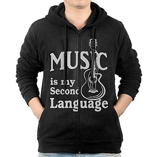 Men's Music Is My Second Language Guitar Full-Zip Hoodie Sweatshirt Fleece Pullover Hooded Shirts Pocket L