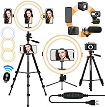 TARION Selfie Ring Light with Tripod Stand 11 inch LED Ring Light Studio Lighting Kit Dimmable USB Beauty Ring Light for Phone Live Stream Video Portraits Photography Compatible with iPhone & Android