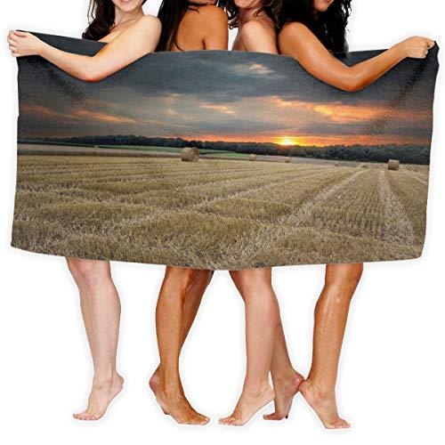 N/A Nature Landscapes Fields Crops Farm Hay Bales Quick Dry Handdoek Katoen Super Zachte handdoek Bestand badhanddoek 80cmx130cm