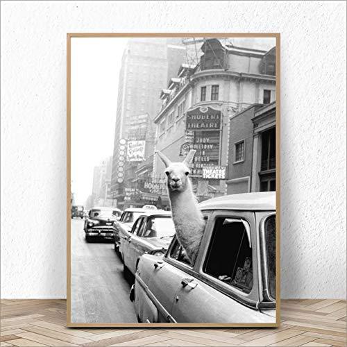 ganlanshu Leinwanddrucke auf Taxis in Times Square und New York City Wall Artist Residence Dekoration,Rahmenlose Malerei,30x42cm