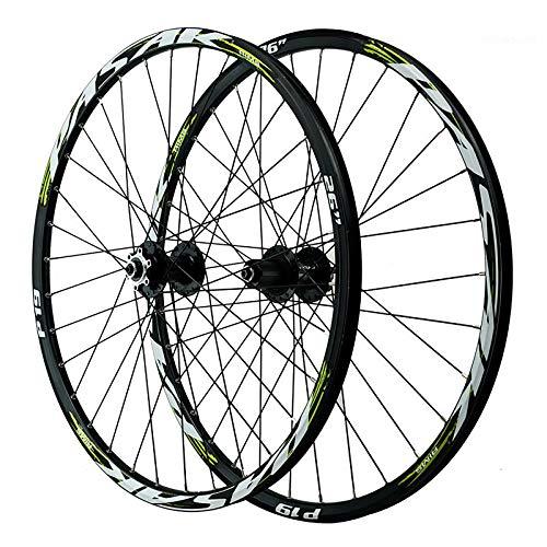 ZHENHZ Juego de Ruedas de Bicicleta 26/27.5/29'Juego de Ruedas de Bicicleta de Montaña Aleación de Aluminio de Doble Pared Llanta MTB Ruedas de Ciclismo,E,26'