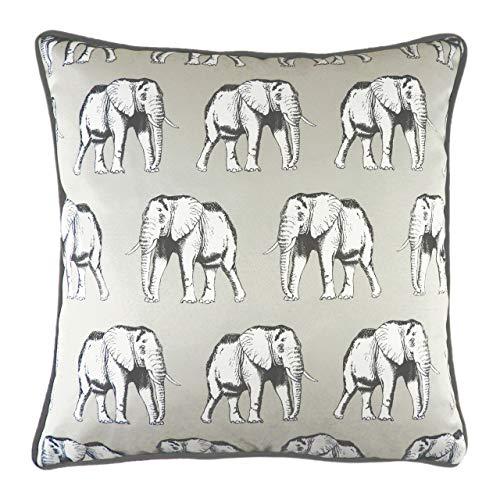 Evans Lichfield Safari Elephant - Cojín (poliéster, 43 x 43 cm), diseño de Elefante, Color Blanco