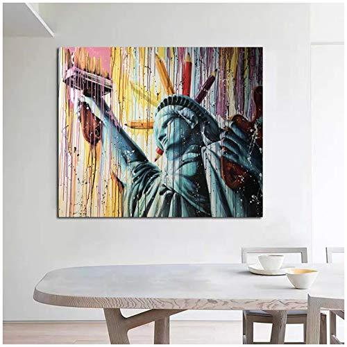 ZQXXX Liberty Graffiti Art Poster Imagen Decoración de la habitación Arte de la pared Pintura en lienzo para la decoración del hogar Obra de arte Impresión en lienzo -60x80cm Sin marco