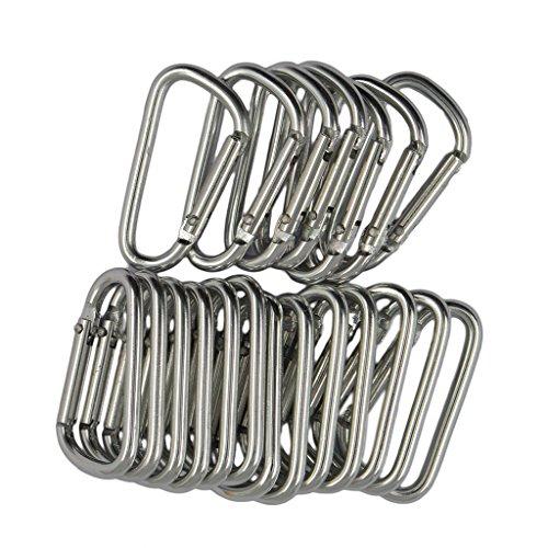 Magideal Lot de 20 en forme de D Mousqueton randonnée Boucle Snap Clip à ressort Crochet Porte-clés Argent