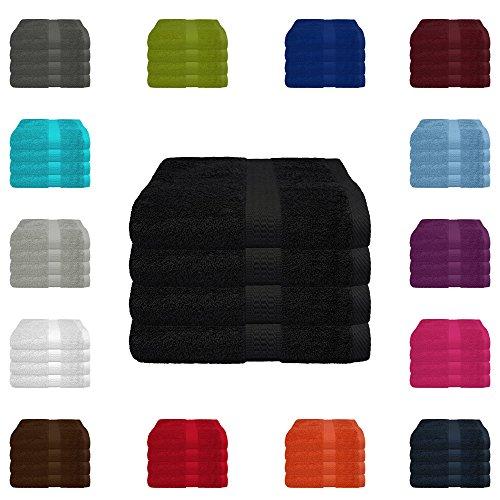 4 TLG. Handtuch-Set in vielen Farben - 4 Handtücher 50x100 cm - Farbe schwarz