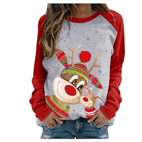 HJFR 2021 Nouveau Mode Noël Femme Blouse Automne et Hiver Sweats Pull Manches Longues Femme Pullover T-Shirt Sweat Shirt Chemisier Manteaux Femme Décontracté Tunique,Col Rond