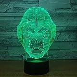 Regalo de Navidad de año nuevo Protección de la vida silvestre Animal Chimpancé Lámpara de mesa 3D que cambia de color Lámpara de mesa LED de animales Productos para bebés Luz de noche