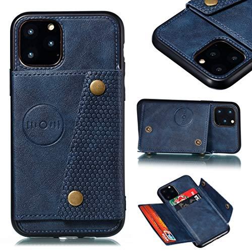 GUODONG Carcasa de telefono for iPhone 12 Pro MAX Funda Protectora de Cuero con Soporte y Ranuras for Tarjetas Funda Trasera para Smartphone (Color : Blue)