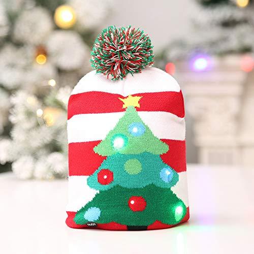 Gorro de Punto de Navidad con Luces Led Decoración de Navidad del Partido Cap Gorro de Lana de Colores de luz Luz Hijos Adultos Sombrero Caliente