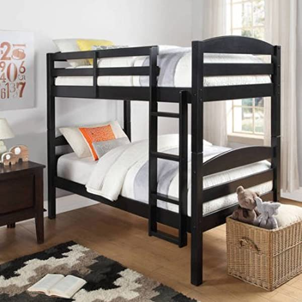 Better Homes And Gardens Converts To 2 Stand Alone Twin Over Twin Wood Bunk Bed Bed Only In Black