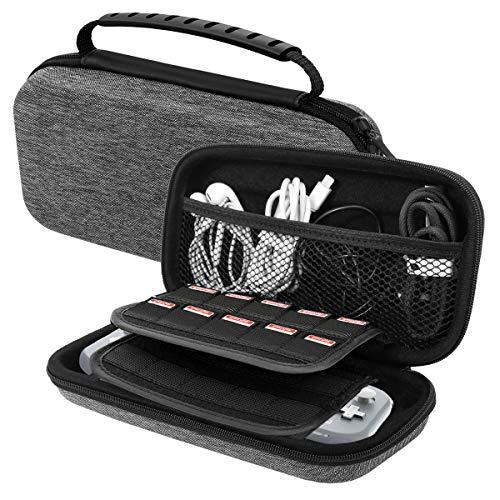 MoKo Carrying Case for Nintendo Switch Lite, Travel Case Hard Shell EVA Tough Storage Bag Holder for Nintendo Switch Lite Console, Accessories & Game Cards - Gray