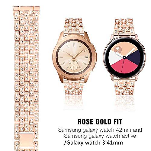 Tencloud Kompatibel mit Samsung Galaxy Watch 3 Armband, Bling Bling Bling Edelstahl Armband Band für Galaxy Watch 3 41 mm Smartwatch (Roségold)