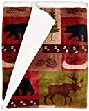 Carstens JP525 Soft Sherpa Plush Throw Blanket, Patchwork Lodge
