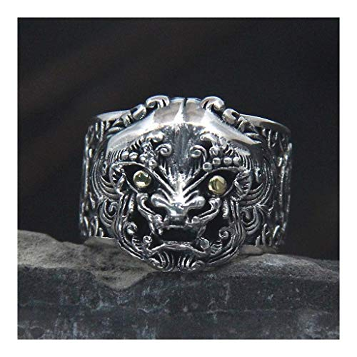 DHSX Unisex Ring Fashion Silver Rings S925 Sterling Silver Adjustable Silver Rings Tang Lion Ring Sterling Silver S925 China Wind Thai Silver Retro Beast Head Ring Male (Color : Silver, Size : 12)