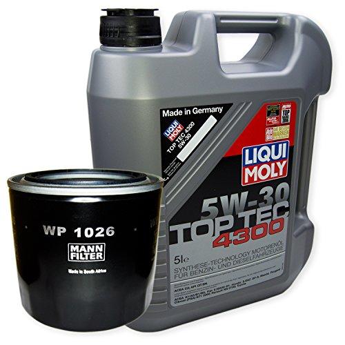 LIQUI MOLY Top Tec 4300 5W-30 3741 + MANN FILTER Ölfilter WP 1026