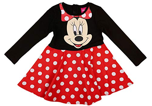 Disney Baby Mädchen Lang-arm Freizeit-Kleid mit schönem Rock mit Minnie Mouse in Gr. 74 80 86 92 98 104 110 116 122,1 2 3 4 5 6 7 Jahre Farbe Modell 12, Größe 122