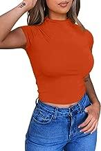 BEAGIMEG Women's Round Neck Short Sleeve Basic T-Shirt Casual Crop Tops