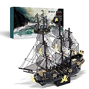 Piececool 3D Puzzles for Adults Metal Pirate Ship Model Kits 307 Pcs DIY 3D Watercraft Metal Model Kit Christmas Birthday Gifts Toys for Adults and Teens Brain Teasers Hand Craft Kits