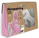 Décopatch KIT009O - Un mini-kit comprenant un animal en papier pulpé blanc, 2 feuilles Décopatch, un pinceau et un pot de vernis colle, Licorne