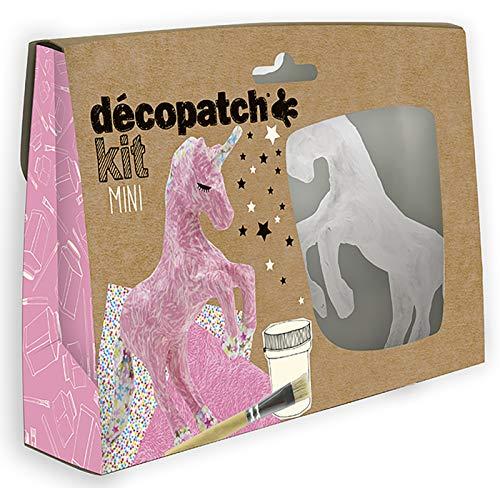 Glorex 6 2030 090 - Décopatch Set Einhorn, Komplettset für kreativen Bastelspaß, mit Einhorn aus Pappmaché, 2 Bogen Décopatch Papier, Kleber und Pinsel